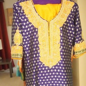 8e0175a0ea2 ... Purple and Orange Designer Churidar Kameez Large ...
